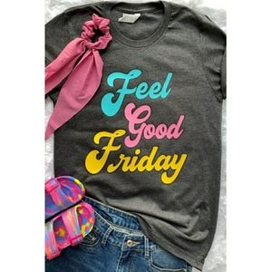 💕 Feel Good Friday Multi Color Graphic Tee 💕